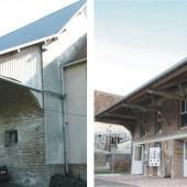 Ancienne étable transformé en bureaux et salles d'animation. Évolution entre 2003 et 2008.